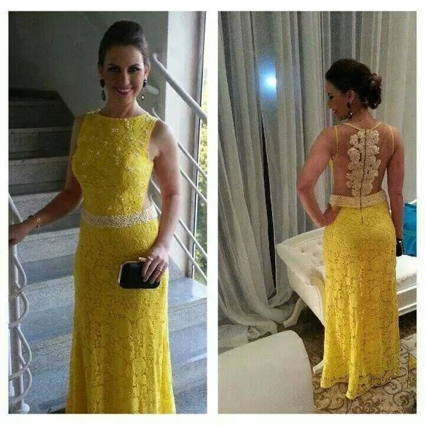 long prom dress yellow elegnat dress yellow dress lace dress beaded dress beaded evening dress see through dress sexy dress sexy dresses prom elegant prom party dresses