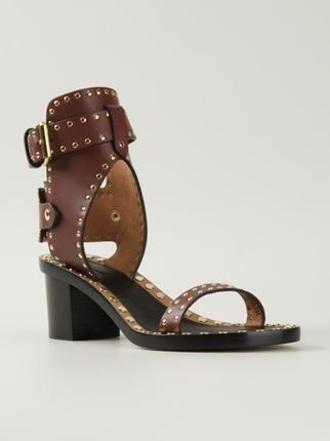 shoes mid heel sandals brown sandals