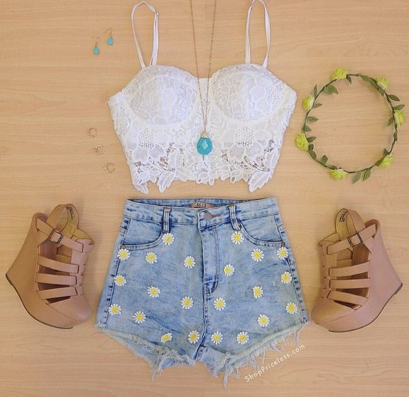 shorts shoes high waisted short hipster socute flower headband sunflowers