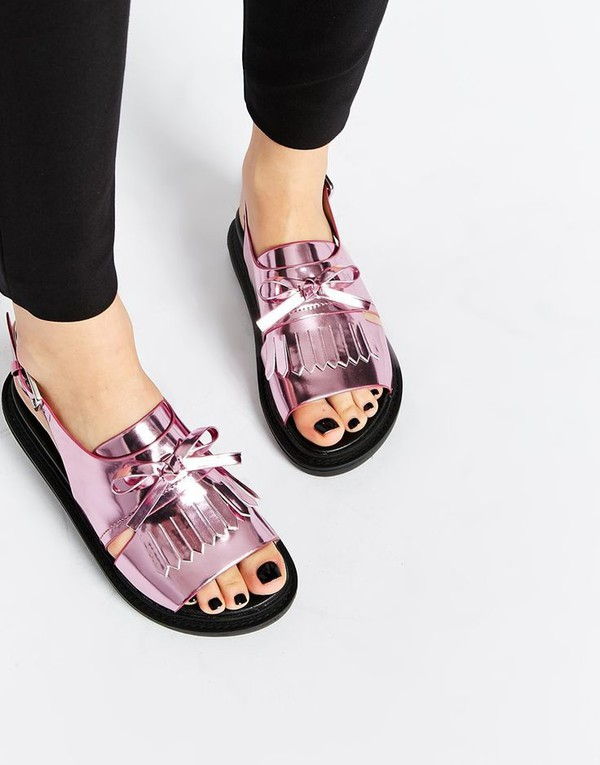 Shoes Pink Shoes Flats Iridescent Flat Sandals