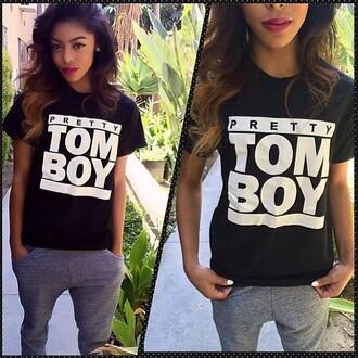 shirt tomboy shirt t-shirt black tomboy