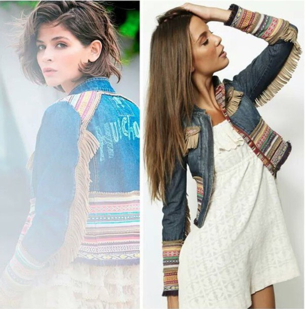 Jacket: style, fashion, fringes, jeans, summer top, hippie ...
