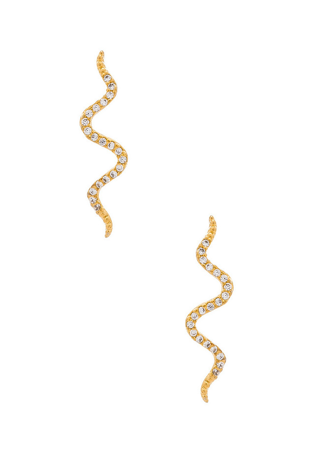 8 Other Reasons Snake Crawler Earrings in gold / metallic