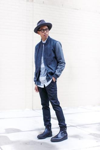 closet freaks blogger fedora mens jacket menswear blue mens fedora