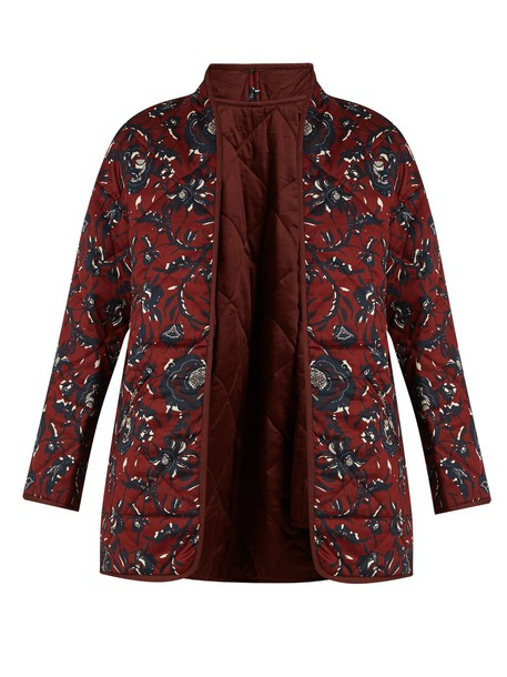 Isabel Marant etoile coat quilted cotton burgundy