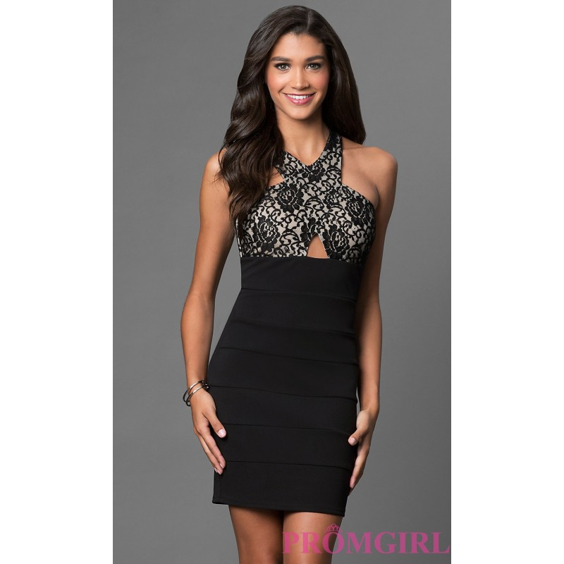 Black Empire Waist Bandage Dress With Lace Top By Sequin Hearts