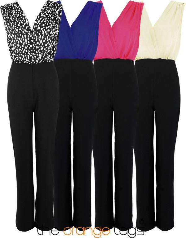 dress spot white navy fuschia cream sleeveless black trousers fashion celebrity jumpsuit polka dots