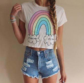 blouse t-shirt it's not me it's you rainbow hipster top crop tops shirt shorts cute shirt pink shirt white t-shirt quote on it rainbow shirt