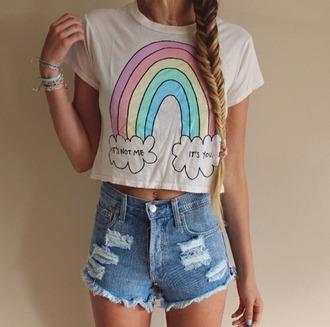 blouse t-shirt it's not me it's you rainbow hipster top crop tops shirt shorts cute shirt pink shirt white t-shirt quote on it rainbow shirt