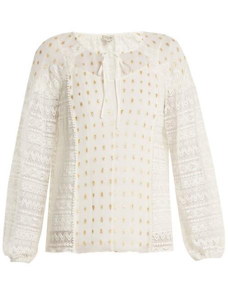 Temperley London - Wondering Lace Panel Fil Coupé Chiffon Top - Womens - White