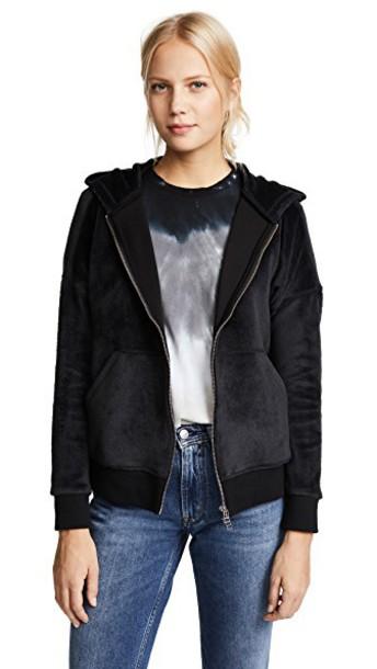 ATM Anthony Thomas Melillo hoodie zip black sweater