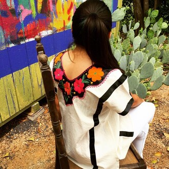 blouse flowers mexican style fashiom dress style
