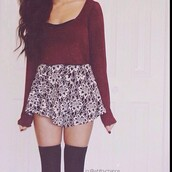 skirt,shoes,sweater,pants,coat,thigh highs,printed skirt,burgundy sweater,knee high socks,socks,shirt,lovely skirt,cute skirt,high waisted skirt,skater skirt,b&w,so cute!,black,floral,mini skirt,long sleeves,red