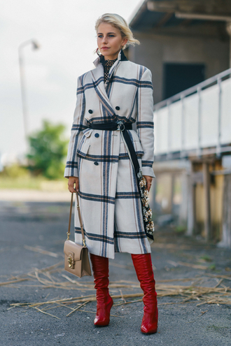 coat tumblr plaid coat plaid boots red boots bag nude bag streetstyle copenhagen fashion week belt fall outfits
