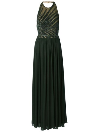 gown beaded green dress