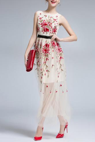 dress fashion classy elegant maxi dress floral red nude dezzal