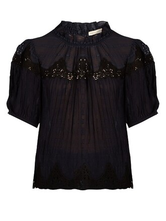 blouse lace silk navy top