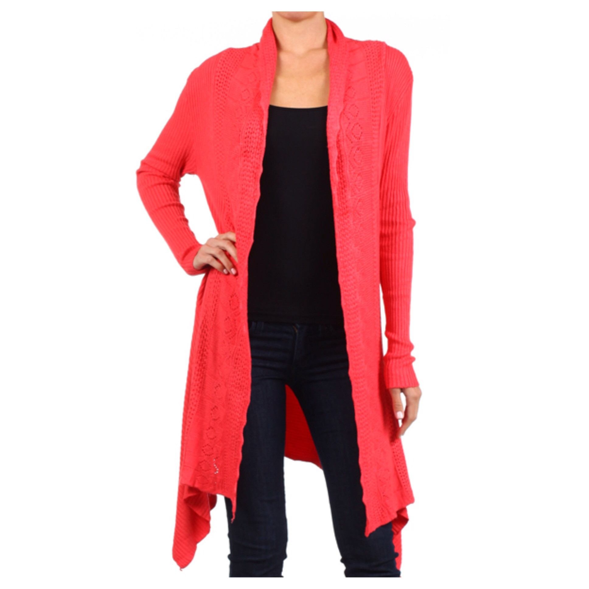 In style crochet knit long coral cardigan
