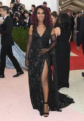 dress,goth,kerry washington,sandals,slit dress,long prom dress,prom dress,gloves,met gala,metgala2016,black dress,lace dress,lace,olivia pope,black girls killin it
