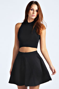 Cara Ribbed Skater Skirt at boohoo.com