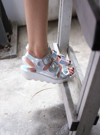 shoes holographic platform shoes flatform heels buckles