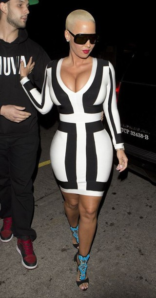 90920c7ad4 dress bodycon dress amber rose black and white sandals plunge dress black  and white dress women