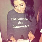 sweater,top,music,song,artist,marina and the diamonds,diamonds,quote on it,marina,singer,band,solo,grey,black,white,jumper,designer,t-shirt,at shirt,tank top,book,make-up