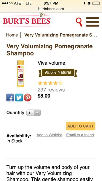 hair accessory burts bees shampoo