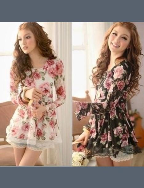blouse floral shirt flowy flowers