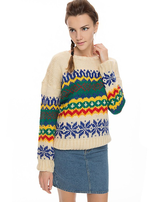 ethnic print sweater vintage trend graphic print sweater fall outfits fall trends back to school vintage sweater normcore cute sweaters trendy sweaters fall outfits pre fall transitional pieces pixie market pixie market girl