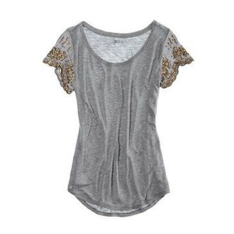 shirt grey embroidered scoop neck rounded hem light weight burn out beading