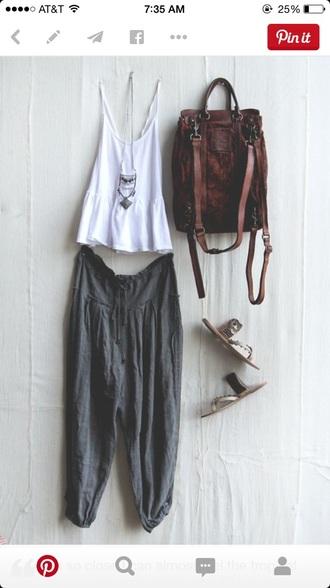 pants bohemian grey gray boho comfy bag tank top shoes