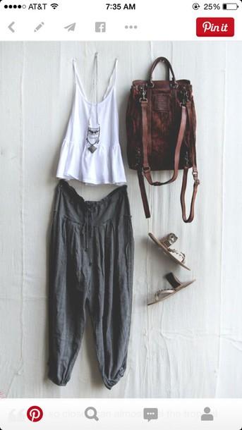 pants bohemian grey grey boho comfy bag tank top shoes