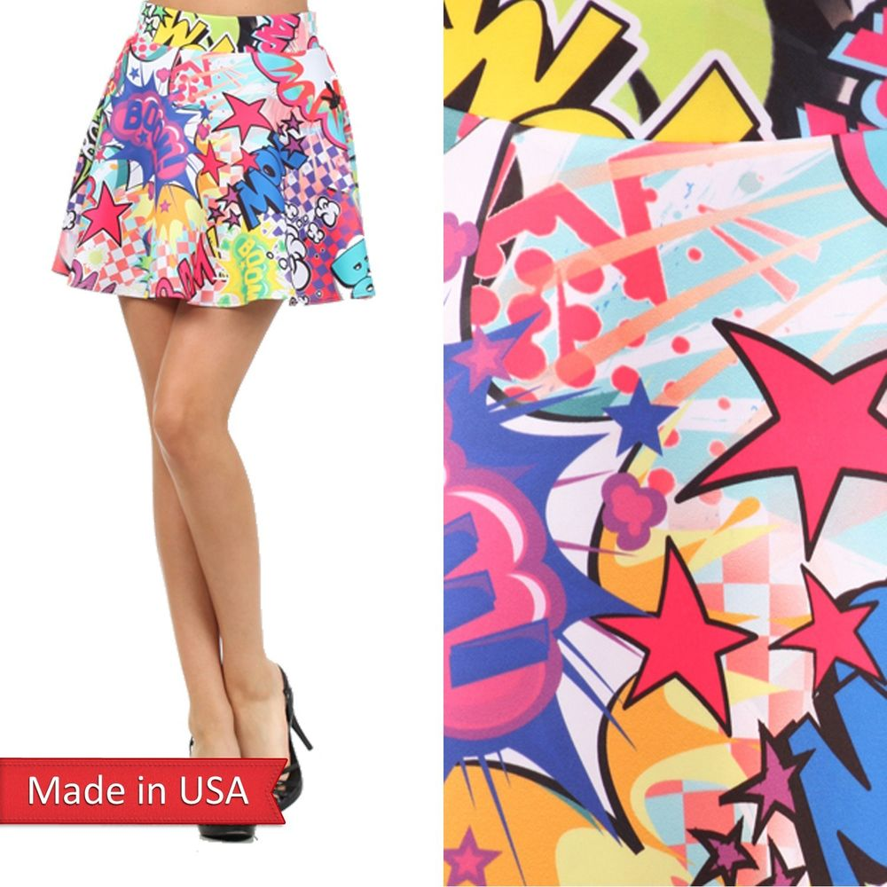 Cartoon Comic Wow Boom Color Print Chic Girl Skater Mini Flair A Line Skirt USA