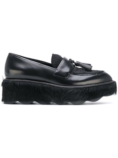 Prada moccasins fur fox women leather black shoes