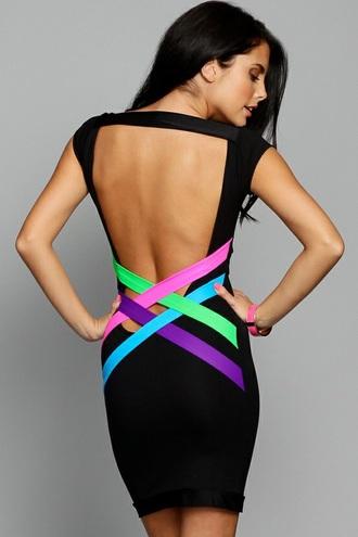 dress black colour backless