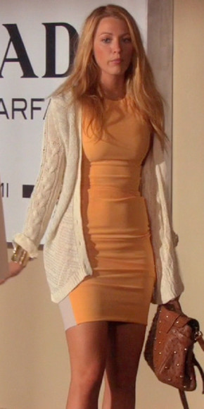 blake lively dress gossip girl serena van der woodsen bodycon orange cream white sweater