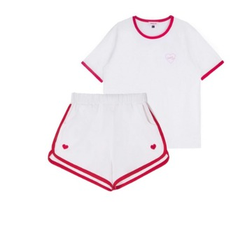 shorts red white heart matching set two-piece