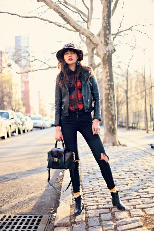 natalie off duty jacket blouse jeans hat shoes bag jewels