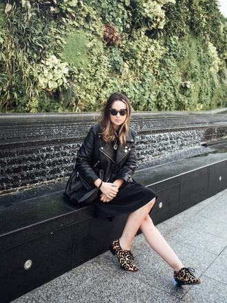 mademoiselle robot blogger leopard print leather jacket