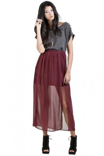 Slit Chiffon Maxi Skirt - Maroon