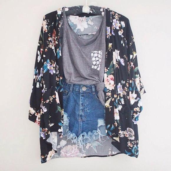 kimono cardigan grey pocket tee roses