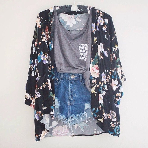 grey pocket t-shirt cardigan roses kimono shorts t-shirt short gris fleural top