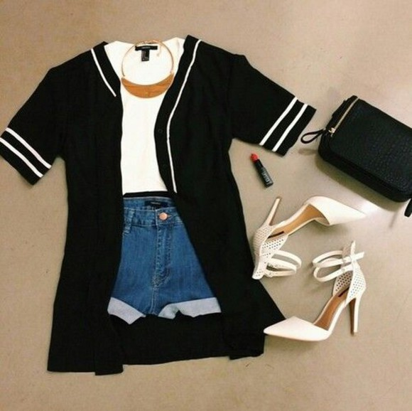 varsity cute cardigan black blouse varsity tee