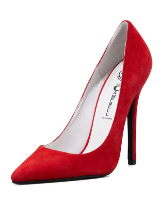 Jeffrey Campbell Darling Suede Point-Toe Pump, Red - Neiman Marcus