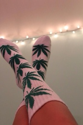 socks,huff socks,pink and green,urban pastel pink