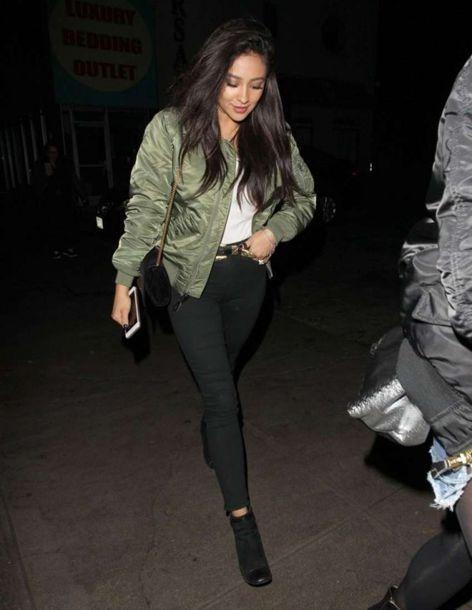 jacket bomber jacket shay mitchell ankle boots fall outfits army green jacket khaki bomber jacket