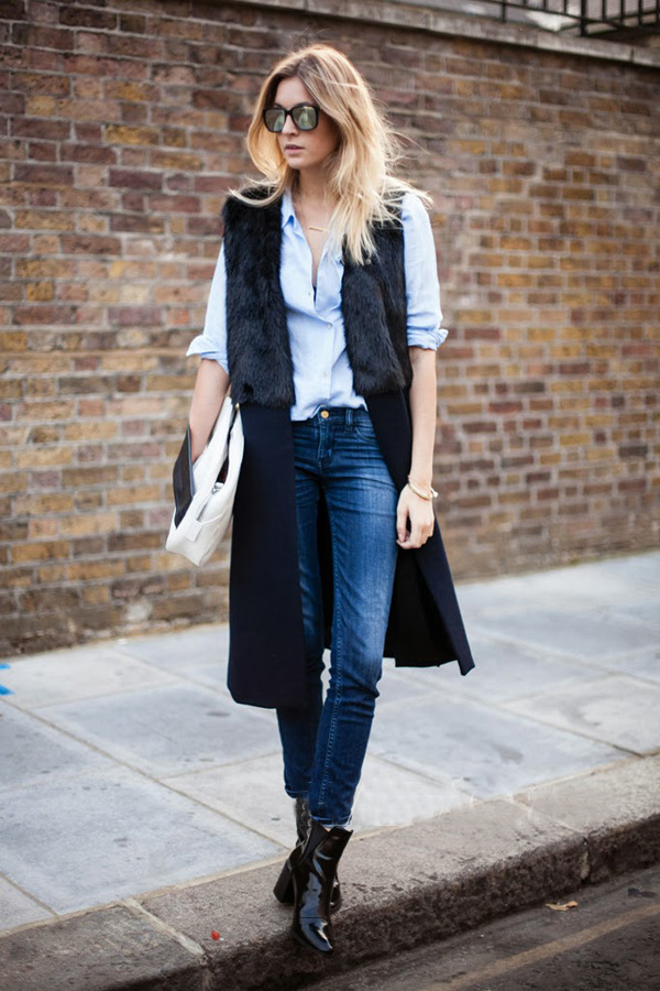 Black Sleeveless Contrast Fur Coat - Sheinside.com