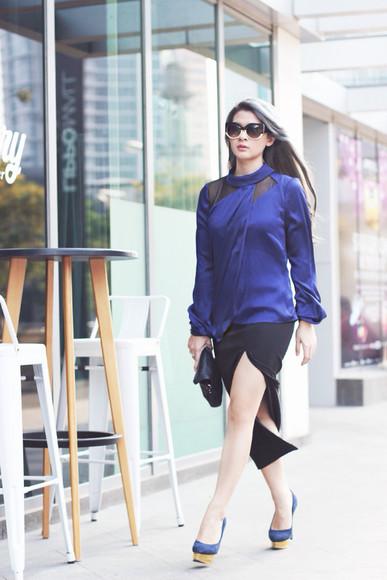 blouse slit skirt blogger sunglasses bag brown platform blue karen millen charlotte olympia