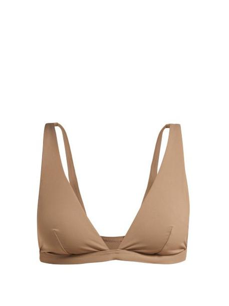 bikini bikini top triangle bikini triangle brown swimwear